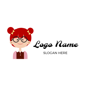 Beautiful Cartoon Girl logo design