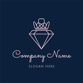 Beautiful Crown and Precious Diamond logo design