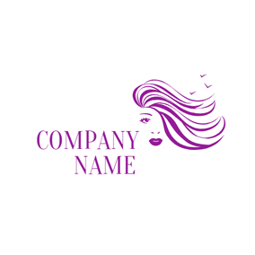 Beautiful Lady and Purple Flying Hair logo design
