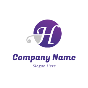 Beautiful Purple Letter H logo design