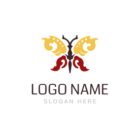 Beautiful Red and Yellow Tribal Butterfly logo design