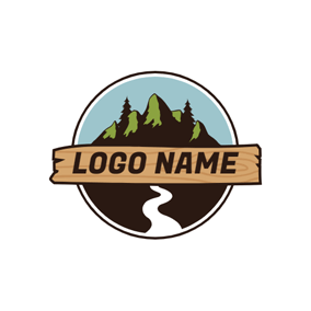 Beautiful Stream and Mountain Landscape logo design