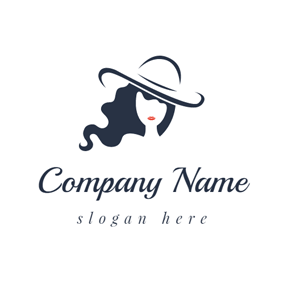 Beautiful Woman and Blue Hat logo design