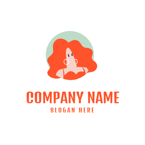 Beautiful Woman and Orange Hair logo design
