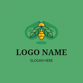 Bee Leaves Fly Scout logo design