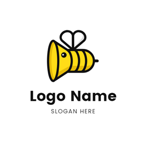 Bee Shape and Speaker logo design