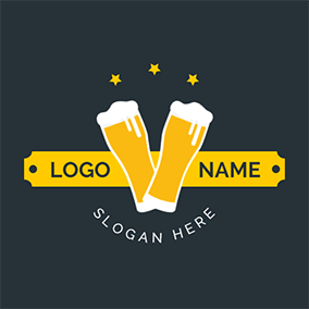 Beer Banner Vintage and Cheers logo design
