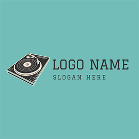 Beige and Black Record Player logo design