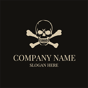 Beige and Black Skull Icon logo design