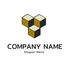 Beige and Black Wood Block logo design