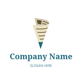 Beige and Blue Newspaper logo design