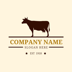 Beige and Brown Dairy Cow logo design