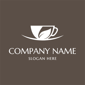 Beige and Brown Tea Cup logo design