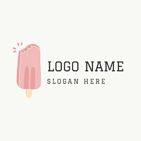 Beige and Pink Ice Cream logo design
