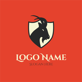 Beige Badge and Black Goat logo design