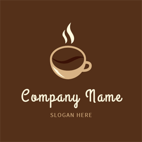 Beige Cup and Chocolate Hot Coffee logo design