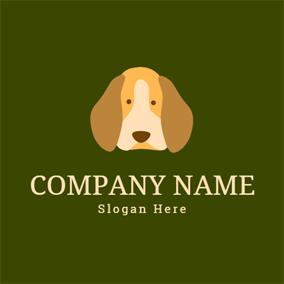 Beige Dog Head logo design