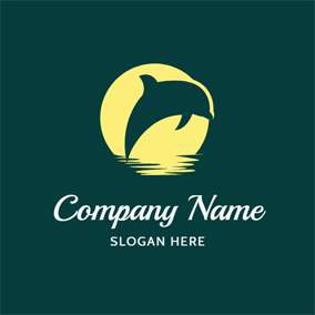 Beige Moon and Dolphin logo design