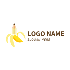 Beige Pencil and Yellow Banana logo design