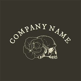 Beige Rose and Skull Icon logo design