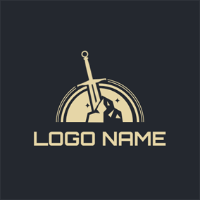 Beige Semicircle and Sword logo design