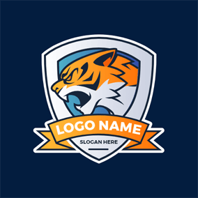 Bellow Tiger and Badge logo design