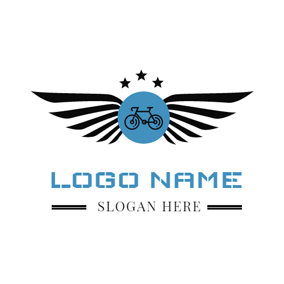 Bicycle and Black Wing logo design