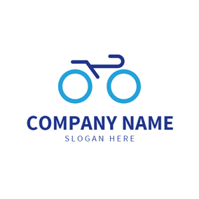Bicycle Outline and Cycling logo design