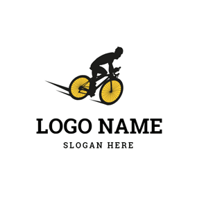 Bicycle Rider and Bike logo design