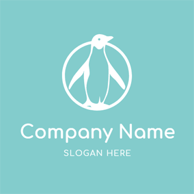 Big Circle and Elegant Penguin logo design
