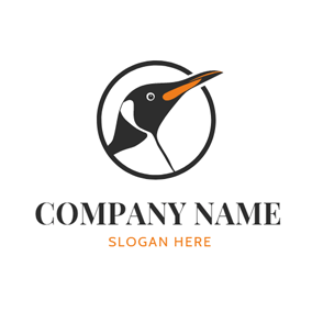 Big Circle and Vivid Penguin Head logo design