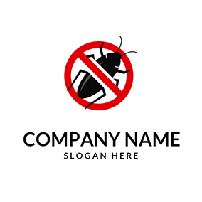 Big Cockroach and Forbid Sign logo design