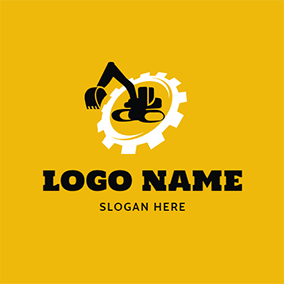 Big Gear and Excavator Outline logo design
