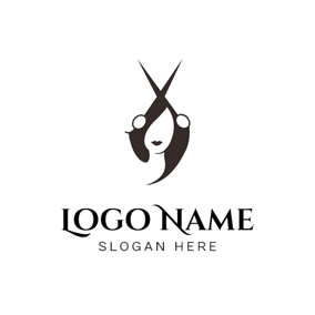 Big Scissor and Black Hair logo design