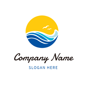 Big Sun and Blue Water logo design