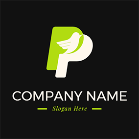Bird and Simple Letter P P logo design