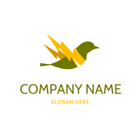 Bird Shape and Lightning logo design