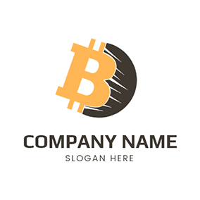 Bitcoin With Shadow logo design