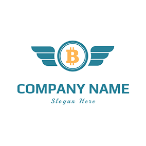 Bitcoin With Wing logo design