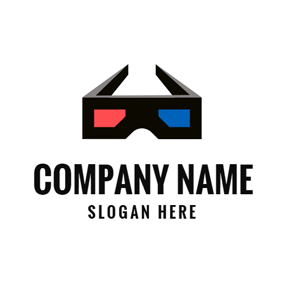 Black 3D Glasses and Movie logo design