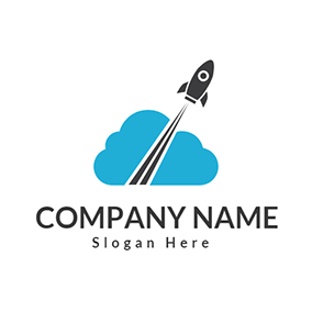 Black Airplane and Blue Cloud logo design