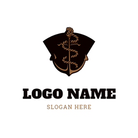 Black Anchor and Tattoo logo design