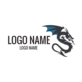 Black and Blue Dragon logo design