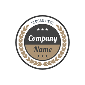 Black and Brown Circle Stamp With Branch logo design