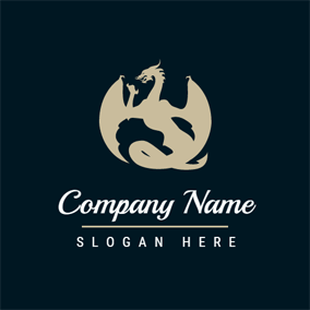 Black and Brown Dragon logo design