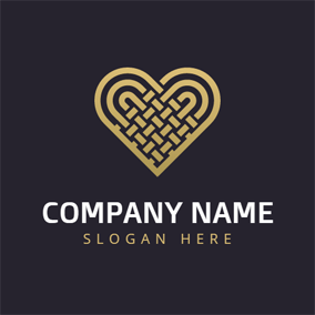 Black and Golden Heart logo design