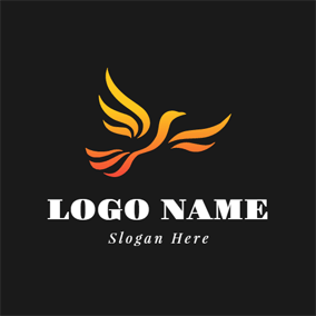 Black and Golden Phoenix logo design