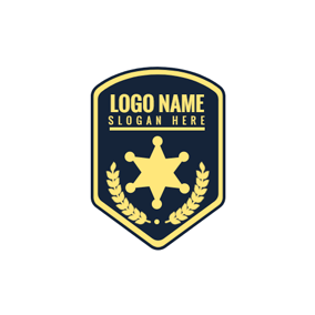 Black and Golden Police Shield logo design