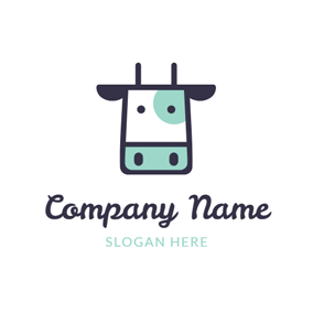 Black and Green Cow Head logo design