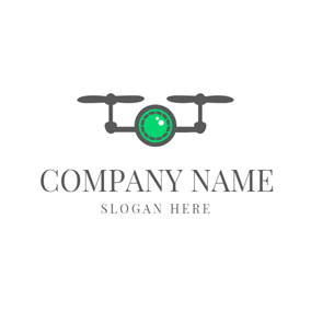 Black and Green Drone Icon logo design